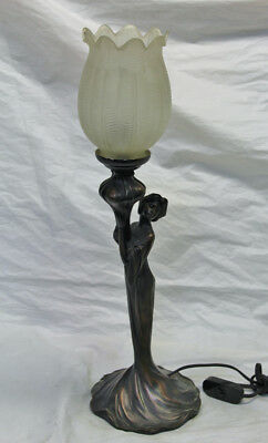 Art Nouveau Cold Cast Bronze Lady Lamp with Frosted Tulip Shade