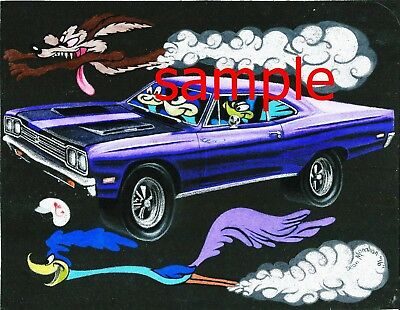 1969 Road Runner Coyote Vintage Ad Style Art Wb A Print From Original Drawing