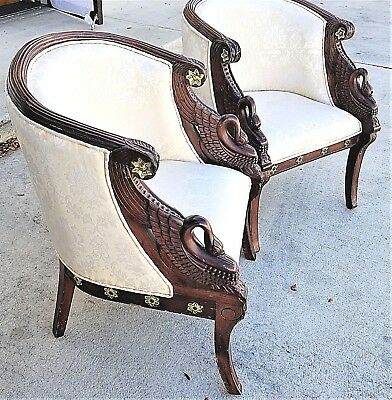Pair of Authentic Antique Empire French Art Deco Carved Swans Mahogany Armchairs