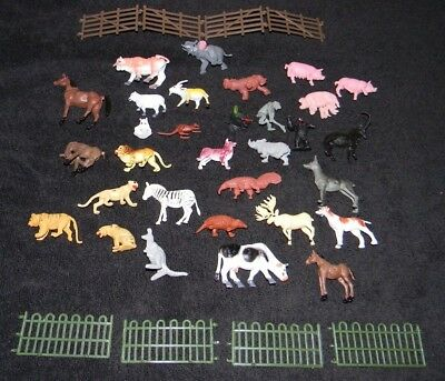 LOT OF 39 PLASTIC FARM, JUNGLE AND WILD LIFE ANIMALS W/ FENCE free shipping