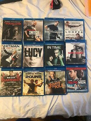 12 Blu Ray Action Movie Lot.  Contrand, Looper, Safe House, Repomen