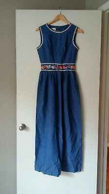 68a5e8f8296 Vintage Retro Mod 1970 s Maxi Dress In Thin Blue Denim With Floral  Embroidery