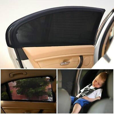 2 x Car Rear Side Window Sun Visor Shade Mesh Cover Shield Sunshade UV-tector