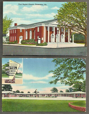 2 Thomaston GA Postcards Church and Motel