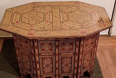 Handmade Exquisite Syrian Inlaid Mosaic Marquetry table
