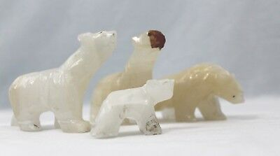 "Set of 4 - Gemstone Carved Bears 3"" tall x 3 1/2"" wide - white / ivory"