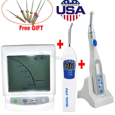 Dental Apex Locator Root Canal Motor Treatment Contra Angle +Tester+ Files USA
