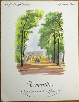 French Line 1965 Ship Menu w/Versailles Cover- Paquebot 'France' - Artist-Signed