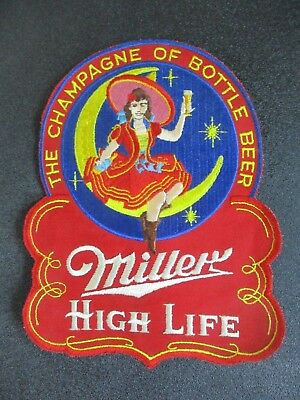 "ANTIQUE 50's MILLER HIGH LIFE BEER "" LADY TOAST IN MOTION "" BACK PATCH BAR SIGN"