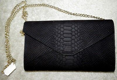 New Nwt Old Navy Black Reptile Texture Fabric Envelope Crossbody Clutch Purse