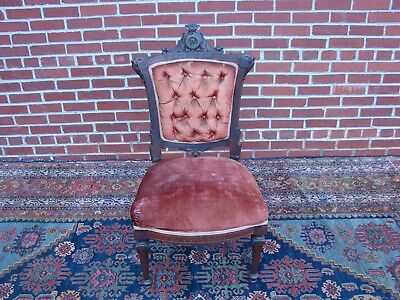 Victorian Rosewood Inlaid Chair w/ Bronze? Plaque Pottier and Stymus Herter Era