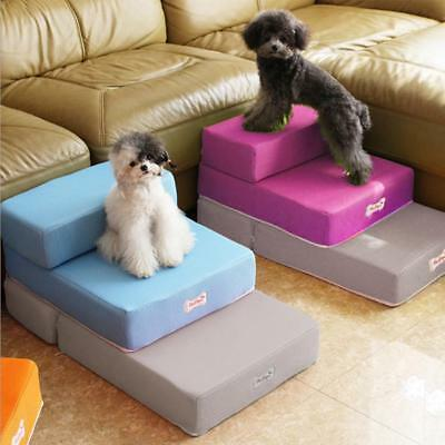 2 Steps Portable Dog Puppy Ladder Doggy Pet Soft Stairs Ramp&Washable Cover