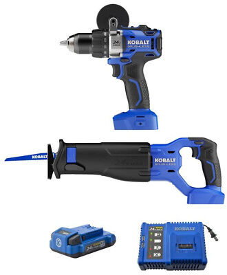 Power Tool Combo Kit Drill Driver Reciprocating Saw 24-Volt Max Brushless Motor