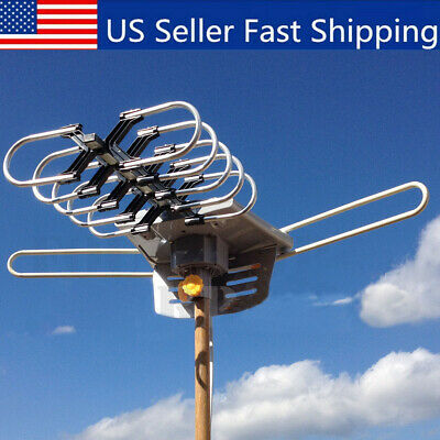 HDTV Antenna Amplified Digital TV Antenna 150Mile 360 Rotation Outdoor With Pole