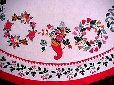 Vintage ROUND Fallani & Cohn ROSES Floral Fruit & Flowers Tablecloth EXCELLENT!