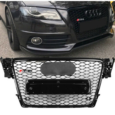 For 2009-2012 Audi A4 S4 B8 8T RS4 Style Gloss Black Honeycomb Mesh Hex Grille