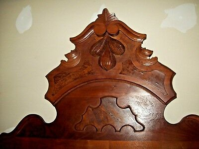 Antique Walnut & Burl High Back Bed Headboard Rails & Foot-Board