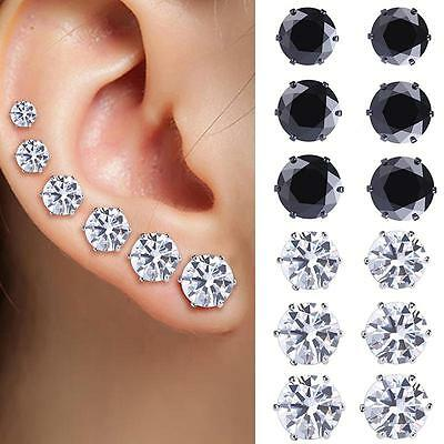 Vogue 6Pairs Stainless Steel Round Zircon Crystal Ear Studs Earring Jewelry DH