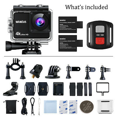 WiMiUS 4K Sports Underwater Action Camera Cam Touchscreen HD WiFi Waterproof Kit
