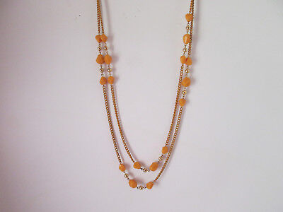 True Amber Elegance Polished Amber Chain, Stones and Gold Beads Retro 1970s