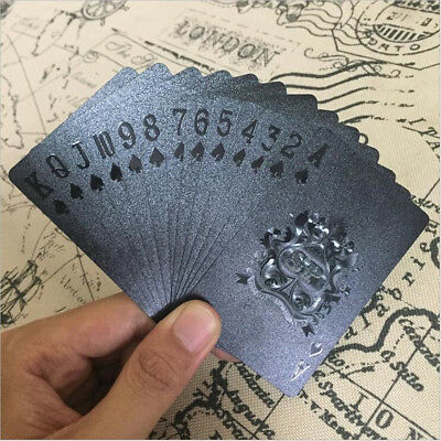 Playing Cards Waterproof Matte Black Foil Plated Poker Card Table Game 54pcs CG