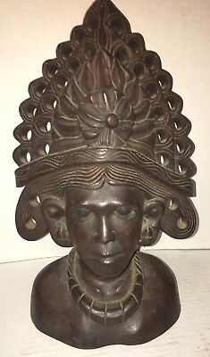 Vintage Ebony Wood Hand Carved Tribal Shaman Bust African Sculpture