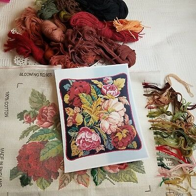 EHRMAN 1996 Blooming Roses Charcoal STARTED Needlepoint Kit David Merry