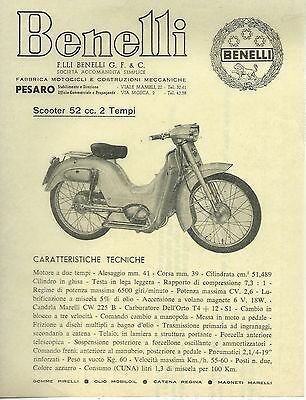 new product 634c0 485ba VOLANTINO/SHEET CICLOMOTORE 52 cc. Benelli Pesaro Modelli anni 50 - Scooter