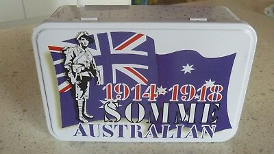 RARE SOMME 1914 - 1918 AUSTRALIAN BISCUIT TIN biscuit tin ANZAC