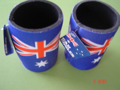 Australia Flag Can Holders Two (2)  New with Tags  New Unused Sold as Per Scans
