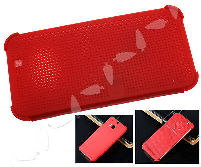 Slim Dot Point View Retro Flip Smart Cover Case For HTC One M9 2015 Red