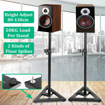2x Studio Monitor Hi-Fi Speaker Stands 80-130cm Height Adjustale 50kg Max Load