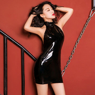 3f0b7018a87a5 Hot Women Halter Patent Leather Bodycon Mini Dress Cocktail Party Raves  Clubwear