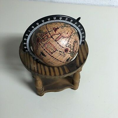 OLDE WORLD GLOBE Desk Top Hand Paint Wood Earth Map Vintage