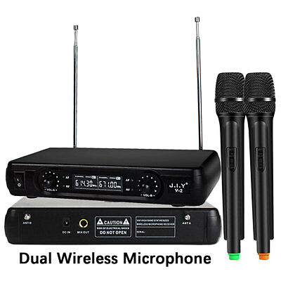 Professional Wireless Microphone System Dual Handheld + Mic Cordless Receiver
