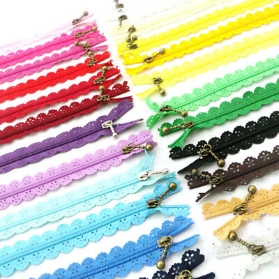 10x Nylon Mixed Color Lace Edge Zipper Puller DIY Craft Zip Tailor Sewing Tool