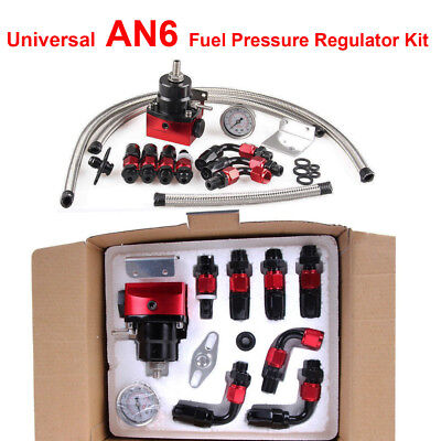 Universal Fuel Pressure Regulator+Gauge+AN6 Fuel Line Hose+Fitting Black+Red Kit