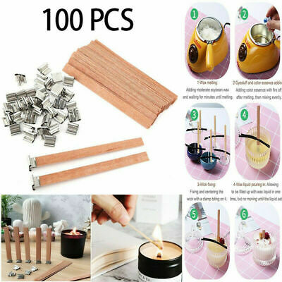 100pcs Wooden Candle Wicks Core Supplies with Sustainer DIY Making for Party