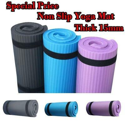 60x25cm Yoga Mat 15mm Thick Gym Exercise Fitness Pilates Workout Non Slip Mat UK