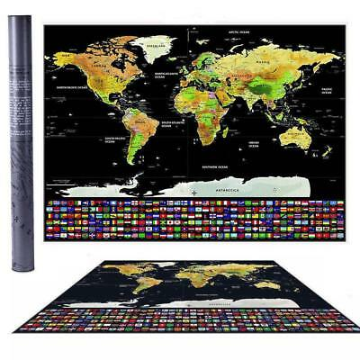 New Travel Tracker Big Scratch Off World Map Poster with UK States Country Flag