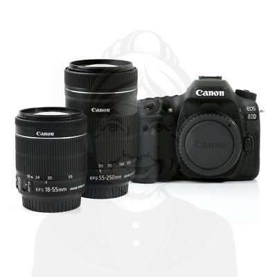 Autentico Canon EOS 80D Camera + 18-55mm IS STM + 55-250 IS STM White Box