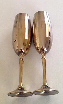 BOHEMIA crystal pair of GOBLETS Vintage - Gold Cobalt Blue Tall Stickers Unused