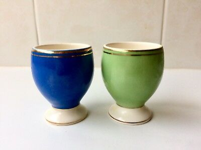 Vintage Harlequin Egg Cups x 2 -  Made In Romania 1950's - Blue Green Gold Trim