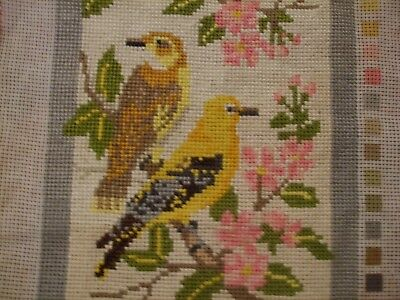 Vintage  ANTIQUE LOVELY Needlepoint Hand Embroidered Tapestry HOME DECOR