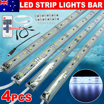 4pc 12V Waterproof Cool White 5630 Led Strip Lights Bars Camping Boat Car Remote