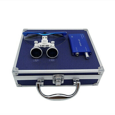 Dental Medical Binocular Loupes Optical Glass+LED Headlight +Aluminum Box Blue