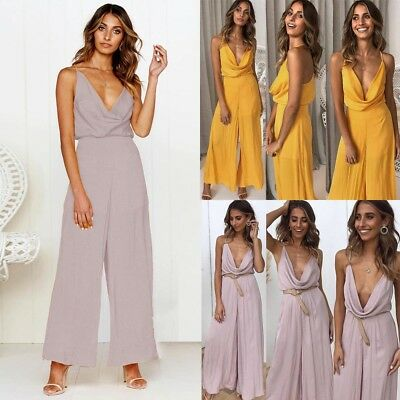 Fashion Ladies Sexy Deep V-Neck Backless Halter Jumpsuits Long Romper Playsuit