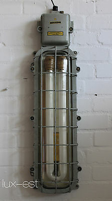 "1 of 3 ""BERNAU"" Industrielampe Neon Bunkerlampe Industrial Bunker Light Vintage"