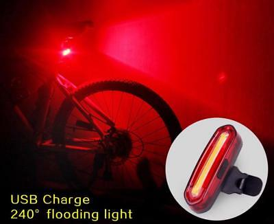 COB LED Bicycle Bike Cycling Front Rear Tail Light USB Rechargeable Red//White MK