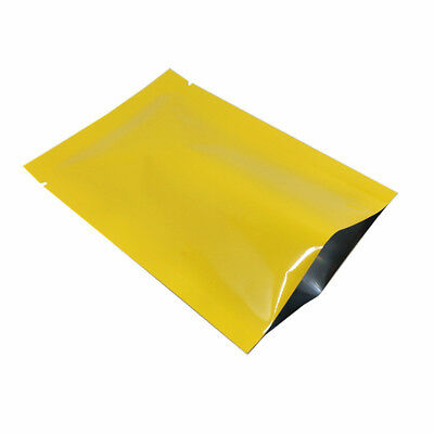 Glossy Yellow Open Top Aluminum Mylar Foil Bag Vacuum Storage Seal Pack Pouch